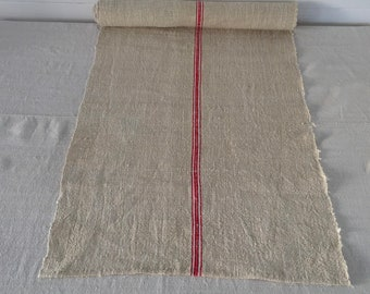NLR1838 Natural Sandy Cream Red Striped Table Runner