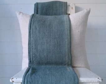 Duck Egg Blue Dyed Vintage Linen Grain Sack Upholstery Fabric Sewing Projects Bench Seats Bath Mat Pillow Cushions Cover DNS2104