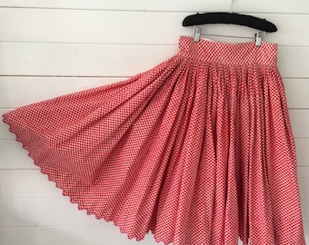 Red Crisscross Circle Skirt Vintage Hungarian Folk Skirt  with Hand Embroidered Scalloped Hem