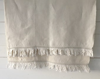 Off White Tablecloth Sheet Fine Hand Spun Linen with Open Thread Work Hems Sewing Projects Blinds Curtains Washed and ready to Go NTS2105