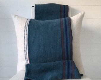 Grey Petrol Blue Dyed Vintage Linen Grain Sack Upholstery Fabric Sewing Projects Bench Seats Bath Mat Pillow Cushions Cover DNS2103