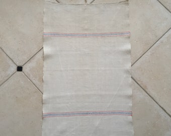 Pale Red And Blue Stripe Tea Towel Linen Vintage Fabric Handmade Linen NTT2007