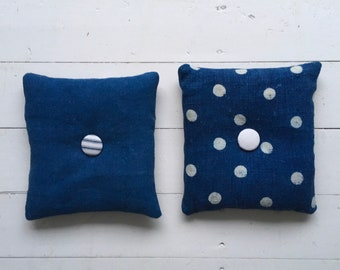 Polka Dot Indigo Linen Lavender Pillows