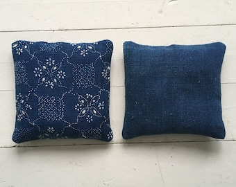 Indigo Linen Lavender Pillows Bags Sachets Hand Made