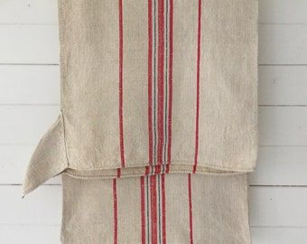 Pink Red and Blue Stripe Natural Vintage Linen Grainsack Fabric Sewing Projects Upholstery Bath Mat or Bags Washed and ready to Go NS2137