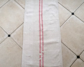 NS1878 Patched Red Stripe Natural Limestone Vintage Linen Grainsack