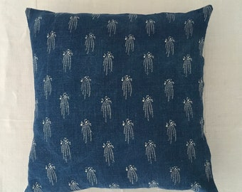 Blue Indigo Hungarian Linen Cushion COVER ONLY