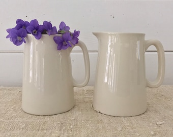 Classic Pottery - Medium Glazed Plain Ceramic Jug-Cream, Milk, Water, Vase