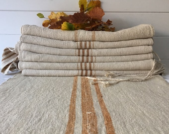 Gold Ginger Stripe Natural Vintage Linen Grainsack Fabric Sewing Projects Upholstery Bath Mat or Laundry Bag   Washed and ready to Go!