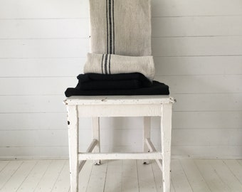 Black Stripes Grey Stone Vintage Linen Grainsack Sewing Projects Upholstery Bath Mat or Laundry Bag NS2151 Washed and ready to Go