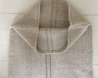 Grey Mushroom Stripe on Stone Natural Vintage Linen Grainsack Fabric Sewing Projects Upholstery Bath Mat or Laundry Bag NS2100