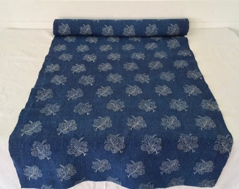 Indigo Dyed Grape Leaf Linen Roll-Linen per Metre-  DLR1906