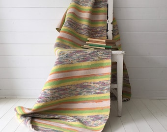 Vintage Swedish Rag Rug  Yellow Lime Green and Natural Pastels Stripes Hand-made Rag Rug Runner Upcycled RR2008