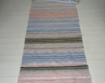 RR1710 Vintage Swedish Rag Rug in Pastel Blues,Greens, Greys and Pinks Stripey
