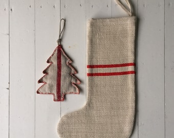 Classic Christmas Stockings Red Stripe Natural Hand Spun Linen and Cotton Herring Bone Weave CS2000