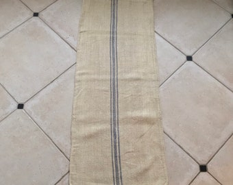 Blue Stripe Twill Natural Vintage Linen Grainsack