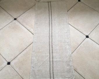 Light Grey Stripe Natural Vintage Linen Grainsack
