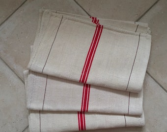 NS1921 Natural Limestone Red Stripe Vintage Linen Grainsack