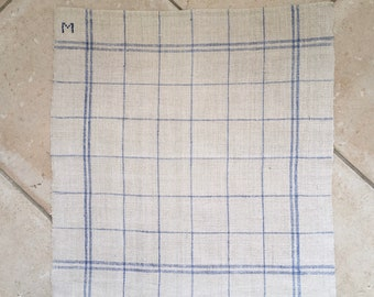 M Monogram Blue Double Stripe Checked Linen Napkin/Placemat Vintage Fabric Handmade Linen NNP1601a