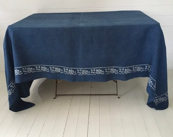 Large Indigo Blue Dyed Natural Rose Bordered Hungarian Vintage Fabric Tablecloth