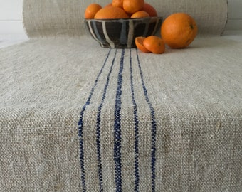 Natural Beige Linen Roll with Royal Blue Stripe Sewing Projects, Table Runner, Cushions and Upholstery Washed and ready to Go NLR2021