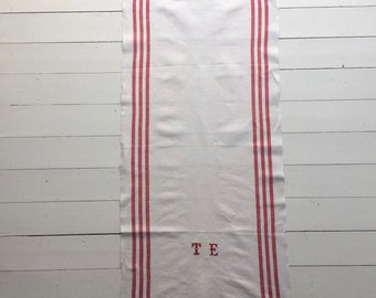 Red Stripe Tea Towel Linen for with 'TE' Monogram