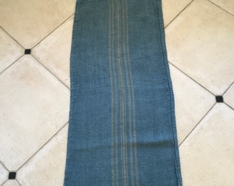 DNS1878 Grey Blue Dyed Vintage Linen Grain Sack with Taupe Stripe