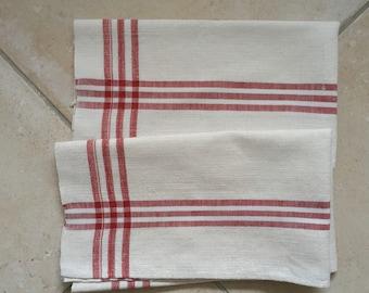 Maroon Stripe Tea Towel Linen Vintage Fabric Handmade Linen NTT2011