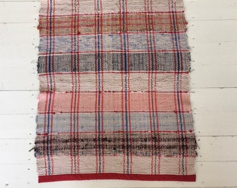 RR19123 Long 3.6m Vintage Swedish Ragrug in Red Brown Blues Pink Checked Stripey