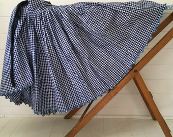 Navy Blue and White Dog Tooth check Circle Skirt Vintage Hungarian Folk Hand Sewn Scalloped Hem Summer Festival Dancing SKT2100
