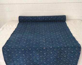 Indigo Leafy Climber Flowers Vintage Linen Upholstery -Price Per Metre