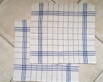 Blue Triple Stripe Checked Linen Napkin/Placemat Vintage Fabric Handmade Linen NNT1601b