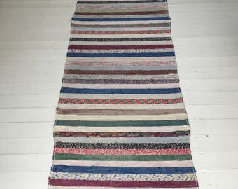 Vintage Swedish Rag Rug in Multi Colored  Cloth