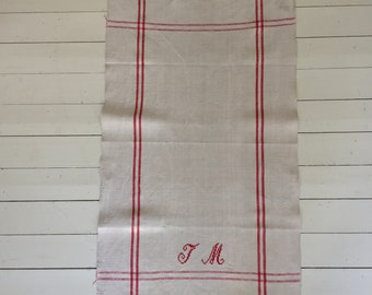 Red Monogrammed 'JM' Natural Limestone Vintage Linen Tea Towel