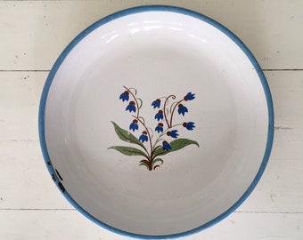 Vintage Enamel Hungarian Plate - Blue, Cream, Green Bluebell Design