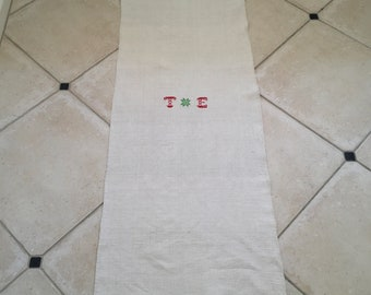NS1840 Monogrammed 'TE' Natural Limestone Vintage Linen Grainsack