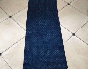 Dark Indigo Blue Grain Sack White Polkadot Vintage Linen Grainsack