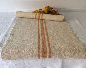 Gold and Sand Vintage Table Runner One length Linen Grainsack Fabric Gold Cinnamon Stripes Sewing Projects Upholstery Washed and ready to Go