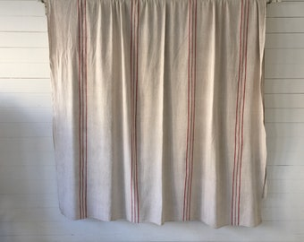 Deep Red Stripe Off White Grey Linen Cart Cover Bed Spread Curtains Upholstery Projects Bolsters Cushions   Washed and ready to Go  CC2102