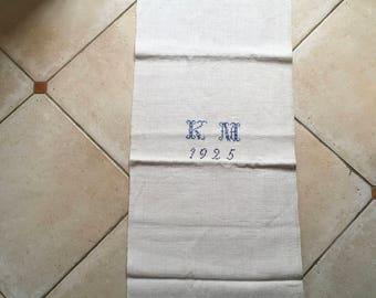 Matching 'KM' Monogrammed 1925 Blue Linen Grainsack