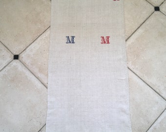 Monogrammed 'MM' Natural Limestone Vintage Linen Grainsack