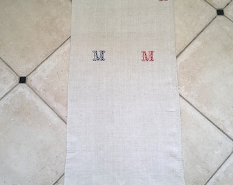 Monogrammed 'MM' Natural Limestone Vintage Linen Grainsack