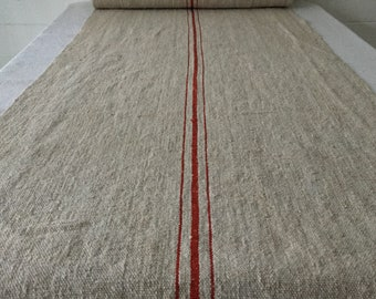 Rust Red Stripes Natural Beige Vintage Linen Per Metre Table Runner Upholstery Sewing Projects Upholstery Blinds Chairs Washed NLR2024