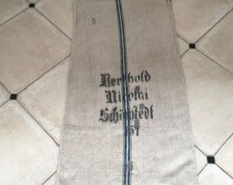 NS1621 Blue Stripe Twill Vintage German Linen Floursack
