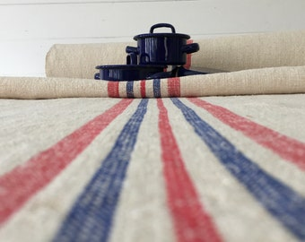 Red and Blue Vintage Off White Linen Per Metre Table Runner Upholstery Bench Seat Headboards Cushion Bolsters Washed and ready to Go NLR2110
