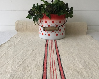 Black and Red Stripes  Natural Buttermilk Vintage Linen Per Metre Table Runner Upholstery Fabric Projects Upholstery Blinds Chairs NLR2029