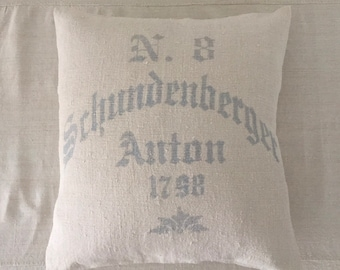 Grey Blue Vintage Hungarian Hand Spun Linen Cushion Pillow COVER ONLY