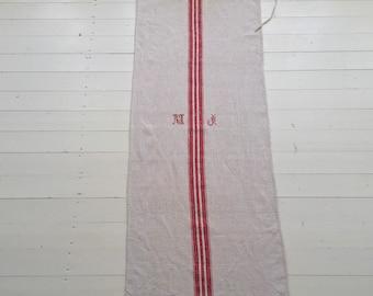 NS1905 Monogrammed 'MJ' Natural Limestone Vintage Linen Grainsack