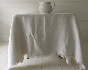 Off White Tablecloth Sheet Fine Hand Spun Linen with Open Thread Work Hems Sewing Projects Blinds Curtains Washed and ready to Go NTS2101