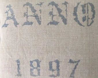 Vintage Hungarian Hand Spun Blue Grey Linen Cushion Pillow  Printed ANNO 1897 COVER ONLY